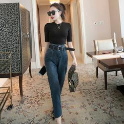 休闲套装两件套洋气名媛2020新款夏装短袖t恤女装时尚显瘦牛仔裤