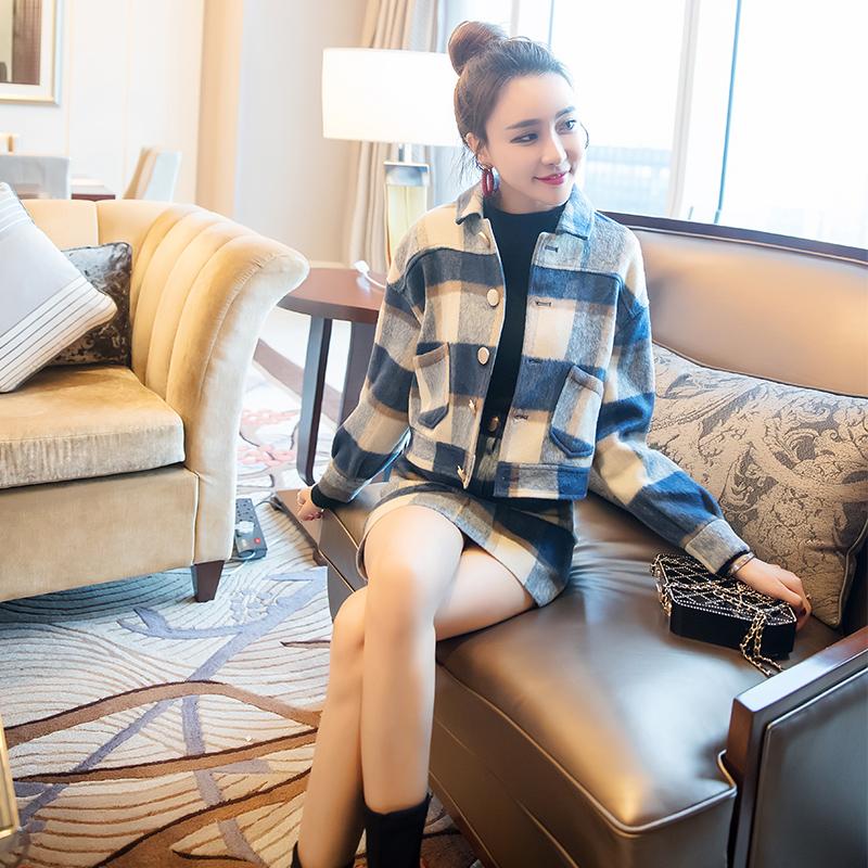 气质半身裙秋冬毛呢套装裙女装2018新款短裙时髦包臀裙时尚三件套