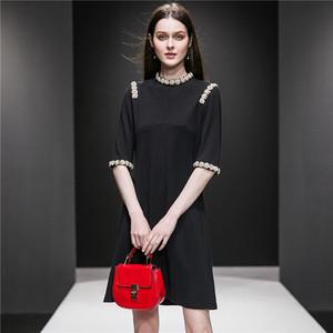 手工钉珠重工镶钻高档连衣裙夏气质名媛小香风轻奢明星同款裙子