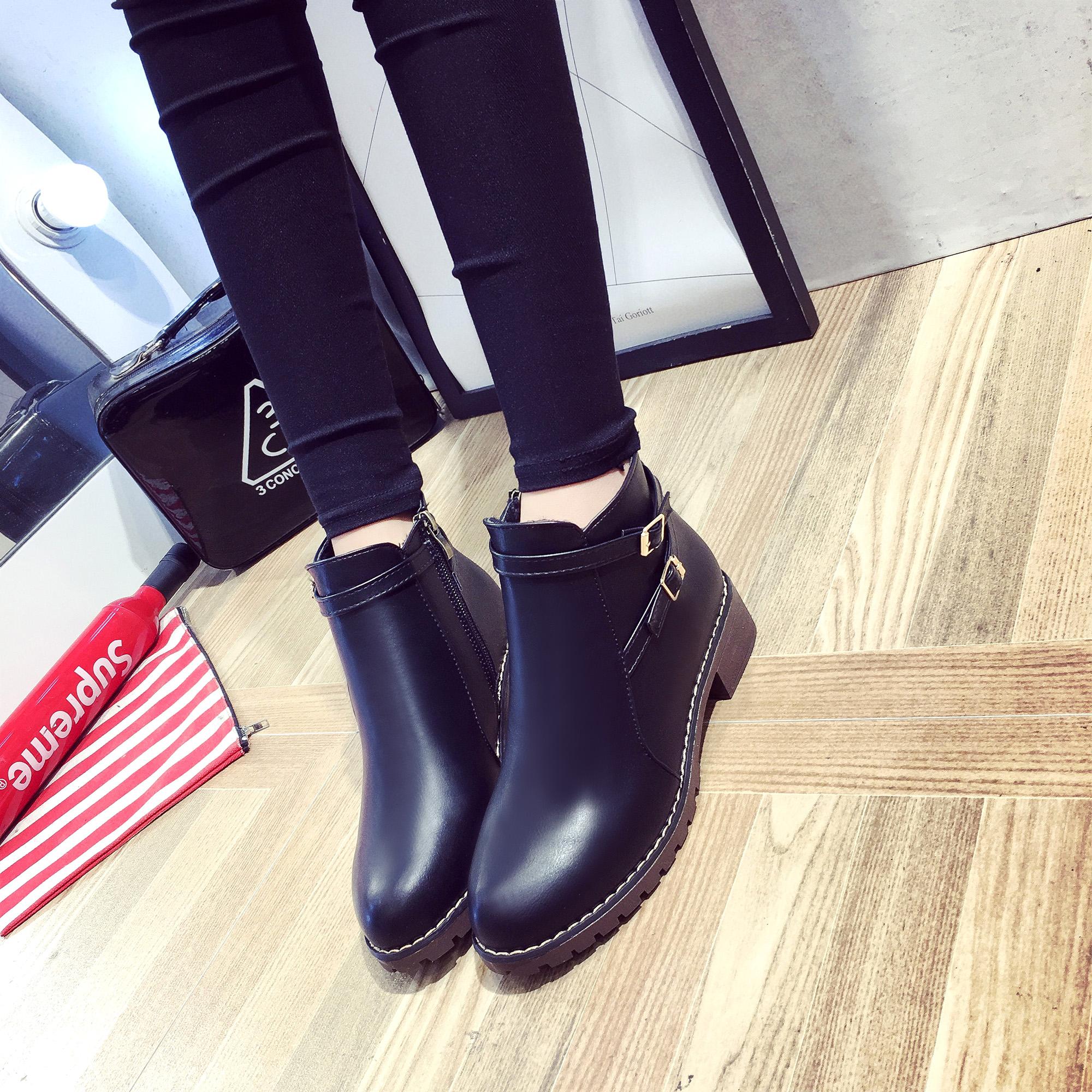 高幫皮鞋女英倫馬丁靴冬季短靴學生韓版靴子女百搭加絨平底新款潮