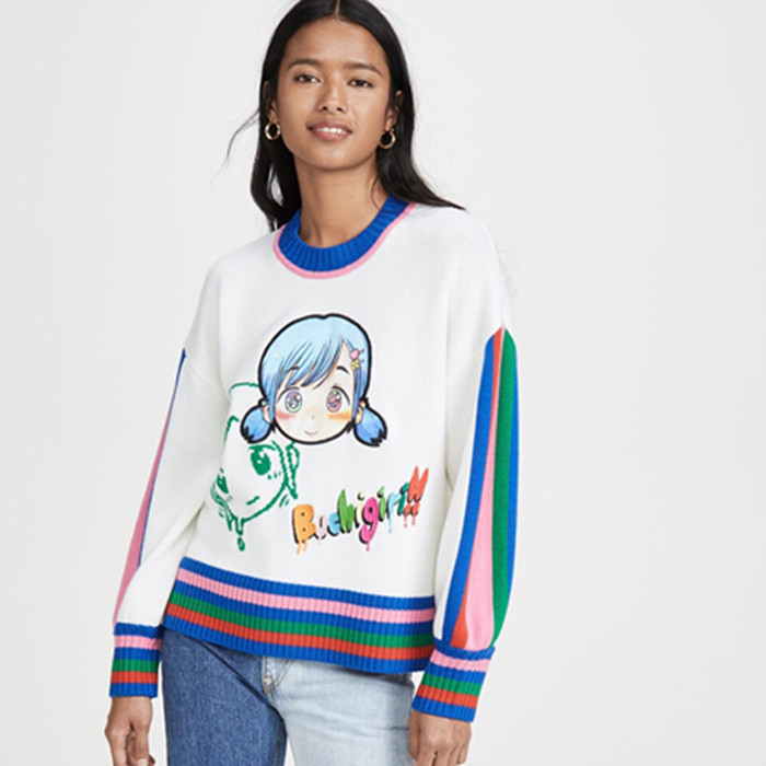 Autumn and winter 2019 new fashion color matching cartoon girls round neck long sleeve Pullover T-shirt loose sweater woman