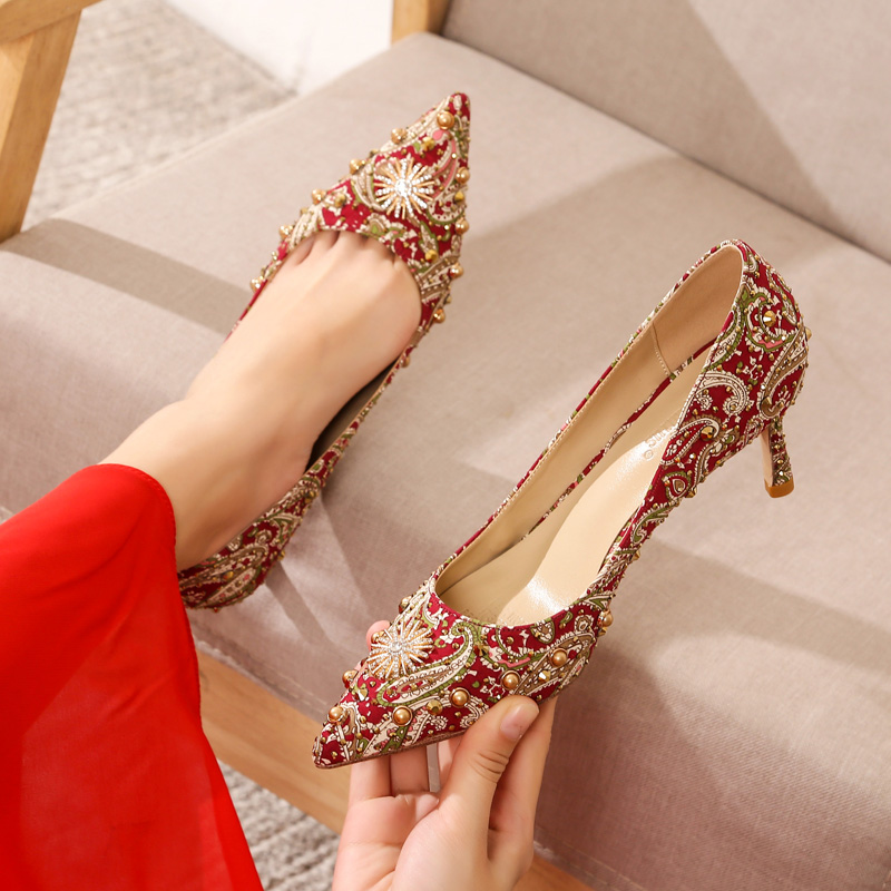 Xiuhe shoes wedding shoes women 2019 new Chinese toast shoes red wedding high heels slim heels Xiuhe clothes bride shoes