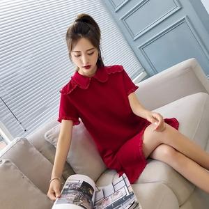 2021夏季新款潮流红色裙子气质网红小礼服娃娃领连衣裙女装敬酒服