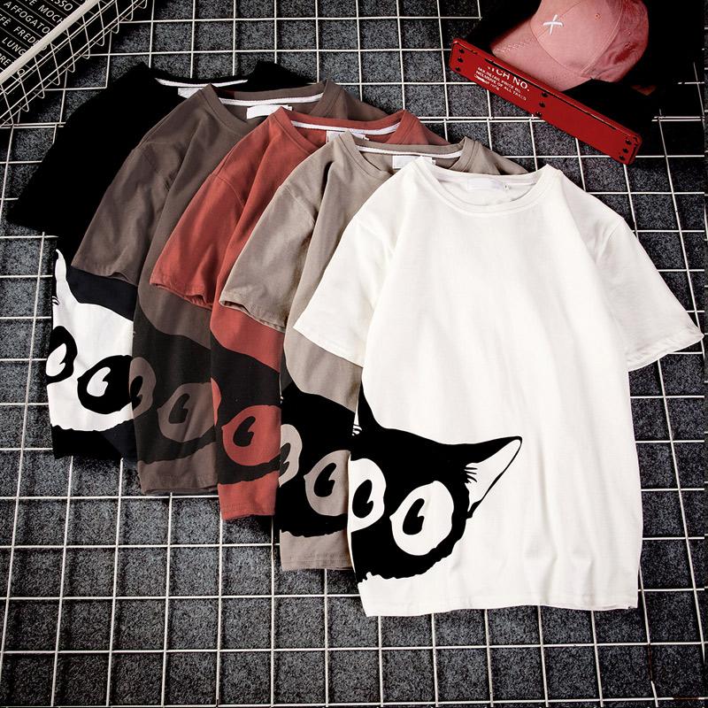 2018夏季印花情侣短袖T恤男士大码宽松白色圆领衣服韩版潮流男装