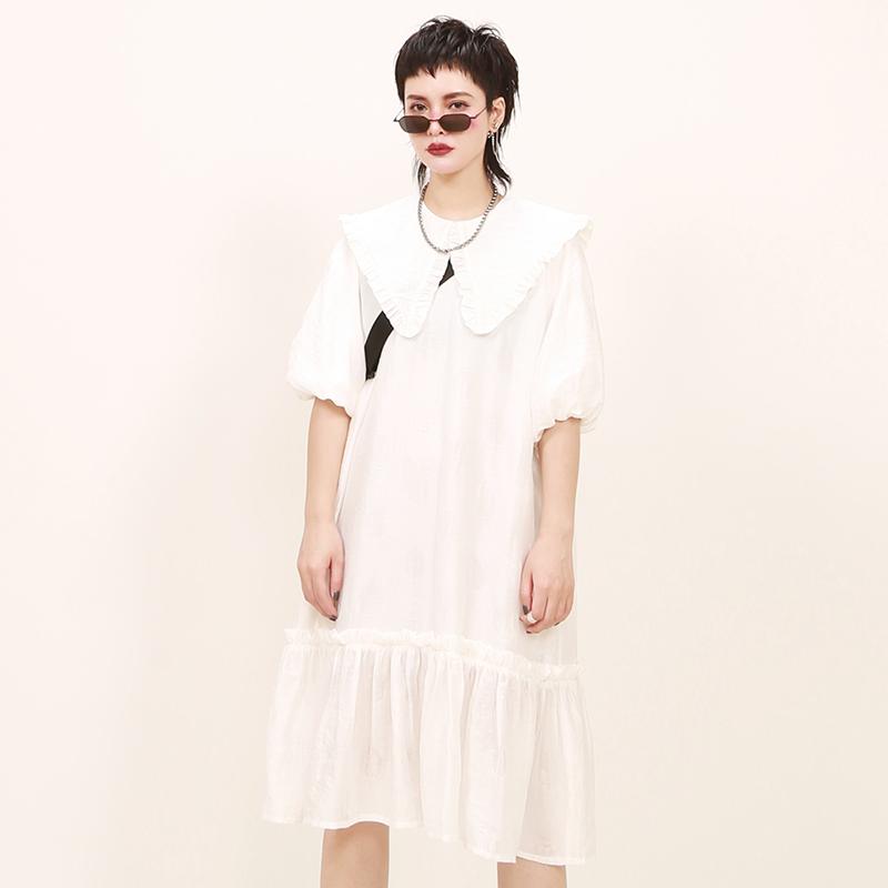 嬉游记原创白色精品花边层次大翻领中长款减龄有气质的连衣裙夏季