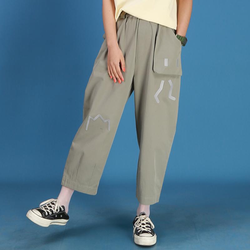 嬉游记原创2020夏季薄款老爹裤女直筒宽松纯色萝卜裤休闲裤小个子