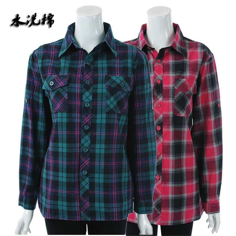 Middle aged and old womens Spring Long Sleeve Shirt mothers cotton plaid shirt plus fat oversize old peoples top