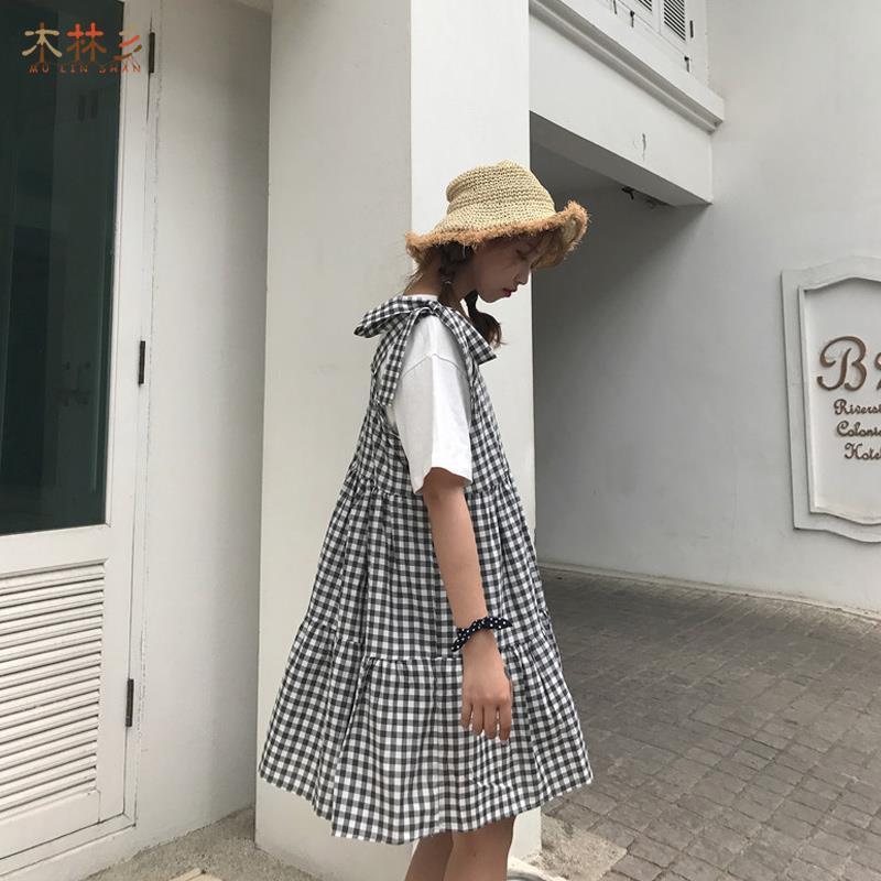 夏季大码新款背带裙小清新两件套黑白格子吊带连衣裙学生蛋糕裙