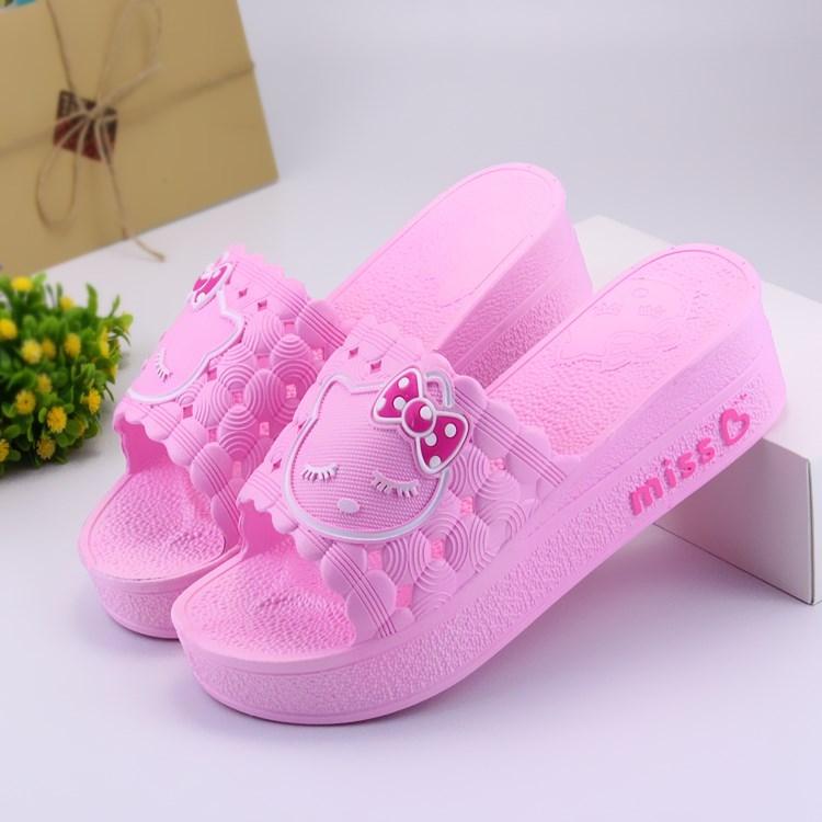 夏季凉拖鞋女士高跟松糕跟室外坡跟居家厚底拖鞋女夏时尚室内防滑