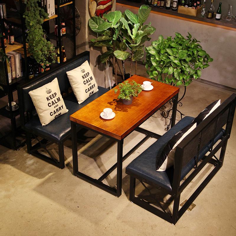 Железо палуба диван кофе зал молочный чай магазин loft ретро западный магазин бар промышленность ветер диван столы и стулья сочетание