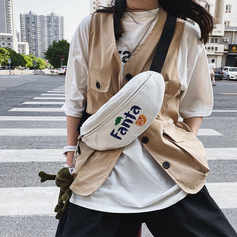 日系学生百搭ins斜挎帆布胸包男女嘻哈街头潮流骑行手机小包腰包