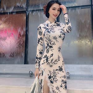 我是卡卡女装1995冬新款性感气质修身改良长款开叉蕾丝旗袍连衣裙
