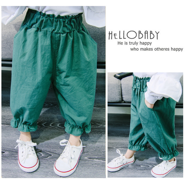 Childrens clothing in spring and autumn of 2019 new childrens Capris solid color bloomers boys and girls pants Korean version