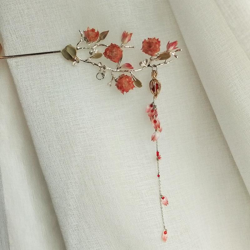 【红鸾曳下】小姐姐手作粉红色古风真花发簪子 新娘创意浪漫发饰