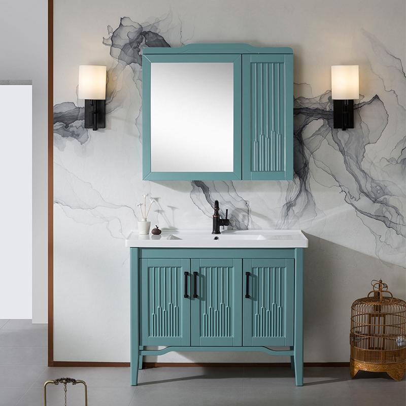 北欧实木简约湖绿色柜定制洗手盆柜(非品牌)