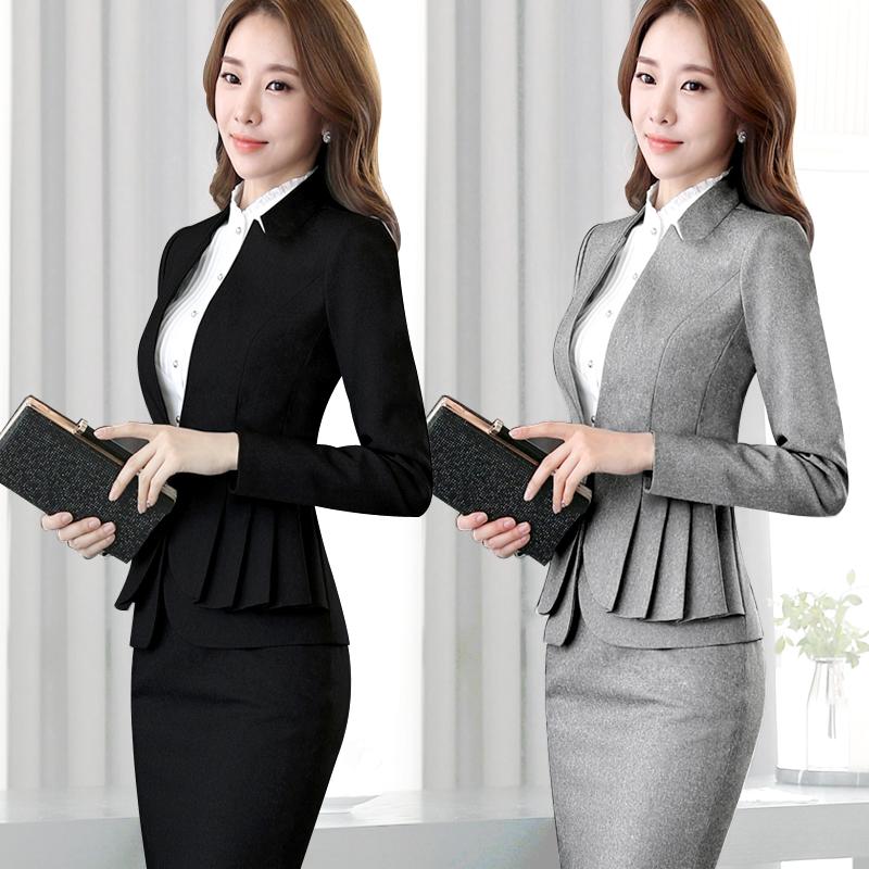 春秋职业装女装套装面试正装韩版女士西装套装西服工作服三件套