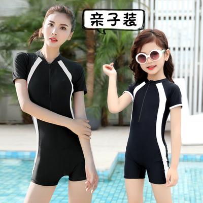 亲子泳衣女母女2019新款连体专业套装遮肚显瘦一家三口温泉游泳衣