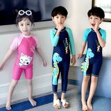 佑游儿童泳衣男童女童连体中大童小童长短袖沙滩男孩宝宝可爱泳衣