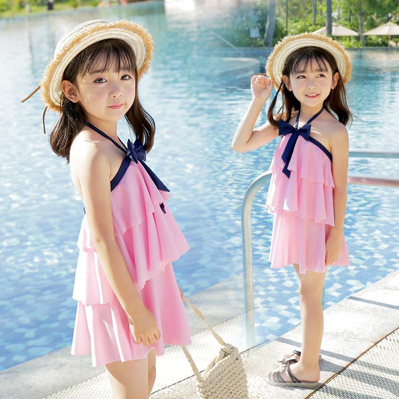 佑游儿童泳衣女孩中大童连体公主裙式可爱韩国防晒小孩女童游泳衣