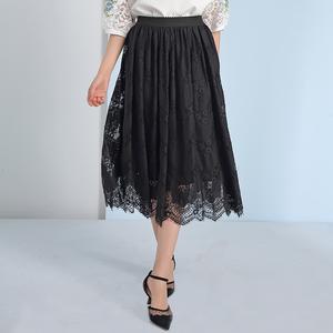 黑色蕾丝半身裙女中长款2020秋季气质勾花镂空百褶裙半裙a字长裙
