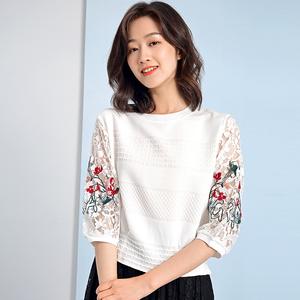 春装2020新款短款上衣七分袖白色t恤中袖小衫打底绣花蕾丝上衣女图片