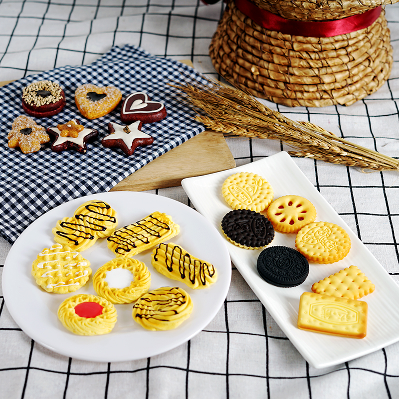 Biscuits and snacks simulation waffles nuts cookies fake food model soft prop home kitchen oven jewelry