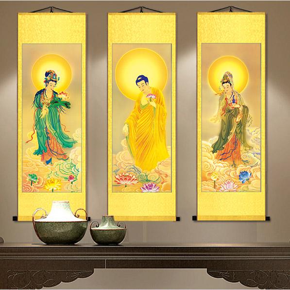 西方三圣掛畫像菩薩絲綢卷軸阿彌陀佛像神像佛像供奉佛教畫觀音畫