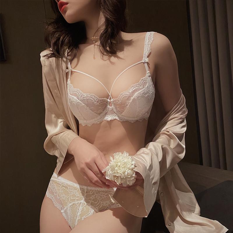 内衣女薄款大胸显胸小缩胸防下垂夏季性感白色胖mm大码文胸E罩