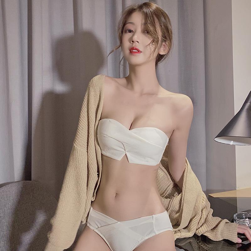 白色抹胸式文胸无肩带内衣夏季薄款女聚拢无钢圈防滑防走光小裹胸