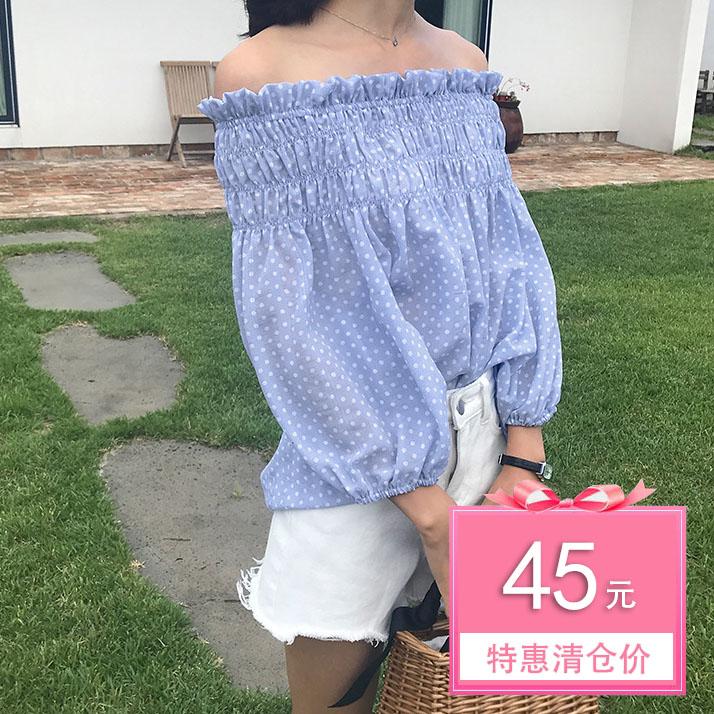 希希cici 2018夏季新款韩版松紧一字领衬衫波点露肩雪纺衫女装H
