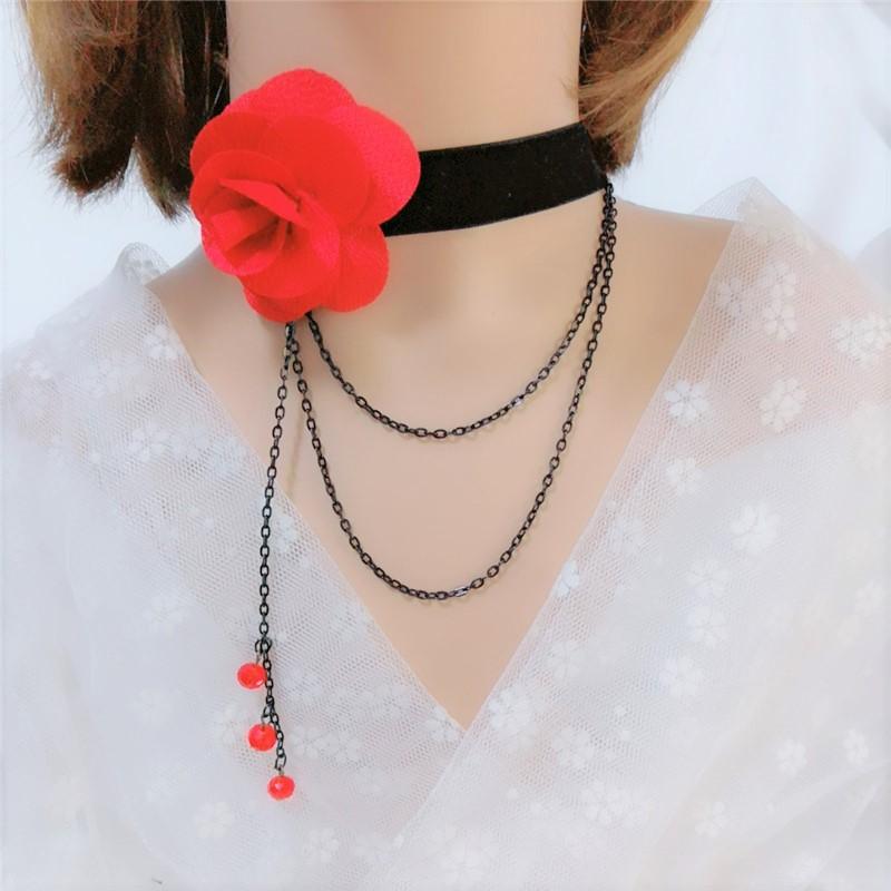 Choker European Gothic Necklace Black Velvet Red Flower Necklace collar collar womens collarbone chain dress accessories