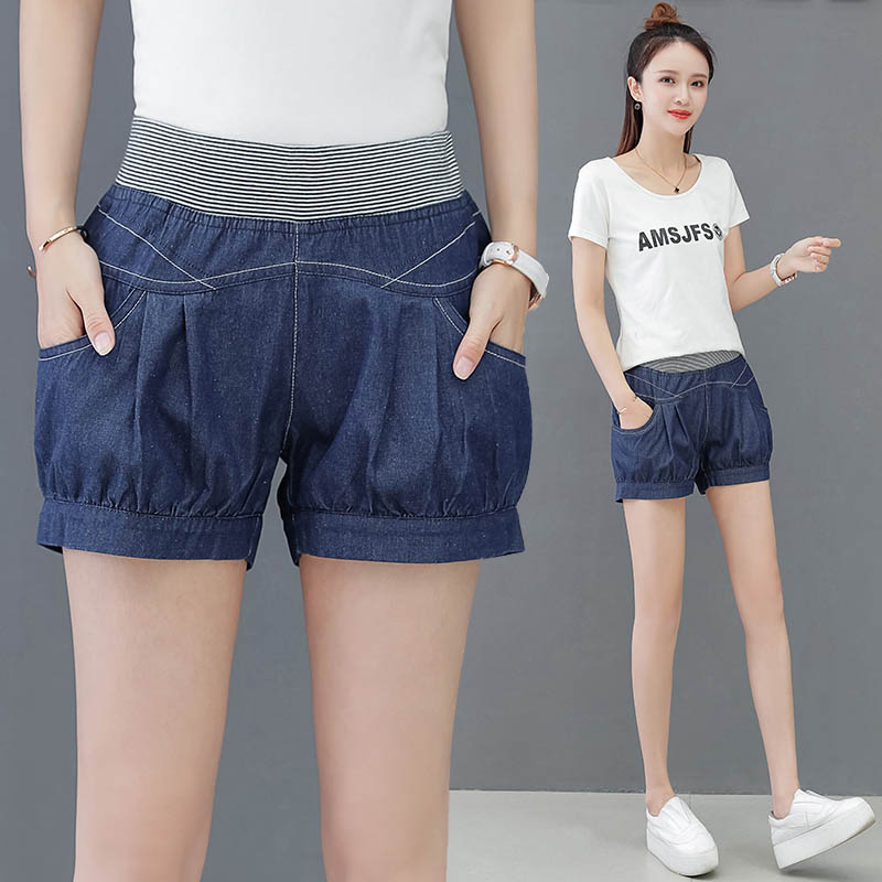 Denim shorts womens summer thin loose baggy pants Korean elastic waist large size versatile loose casual Harem Pants