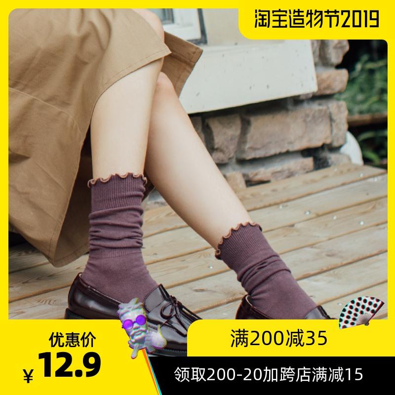 日系复古花边森系袜子纯系棉薄透气秋季甜美学院风中筒堆堆袜女款