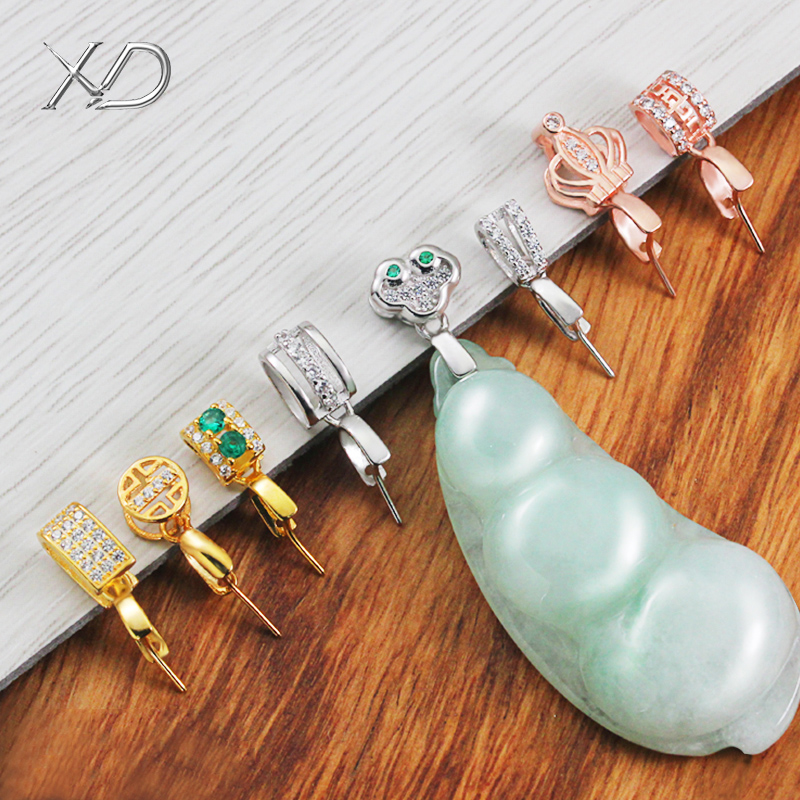 S925 silver melon seed buckle jadeite pendant buckle DIY jade buckle jadeite buckle silver plated 18K gold craftsmanship pendant buckle accessories