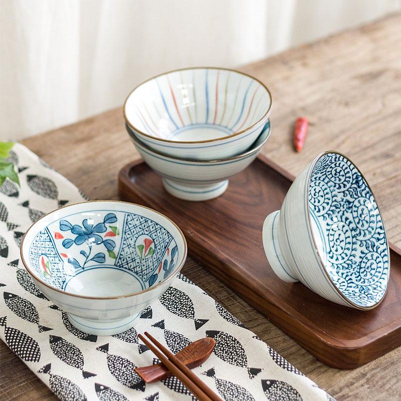 肆月 雨巷 日式和风手绘风格斗形米饭碗 创意陶瓷小汤碗高脚碗正品保证