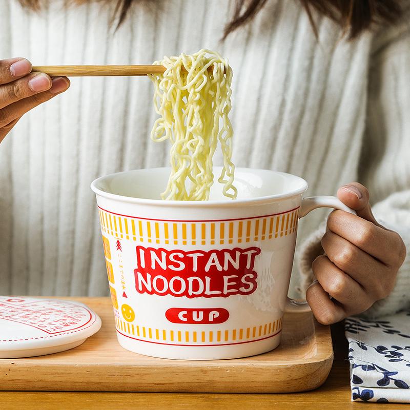 肆月开杯乐 日式陶瓷泡面杯碗带盖大容量方便面碗单个带把手家用42.00元包邮