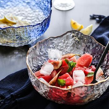 肆月 冰川 日式金边透明玻璃碗家用蔬菜沙拉碗大号水果碗甜品碗