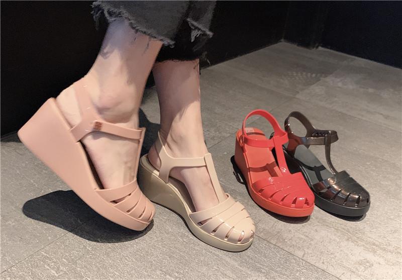 巴西zaxy女鞋编织条纹厚底坡跟舒适女高跟凉鞋 2020年新款女ins潮图片