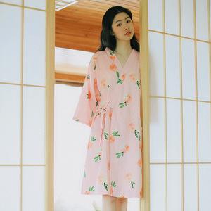 日式睡裙女夏短袖宽松纯棉纱布睡衣裙睡袍和服睡衣汗蒸服家居服薄