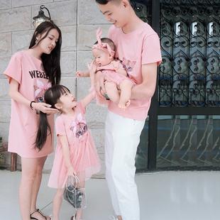 连衣裙t恤 新款 夏装 母子母女婴幼儿家庭装 亲子装 一家三口全家装