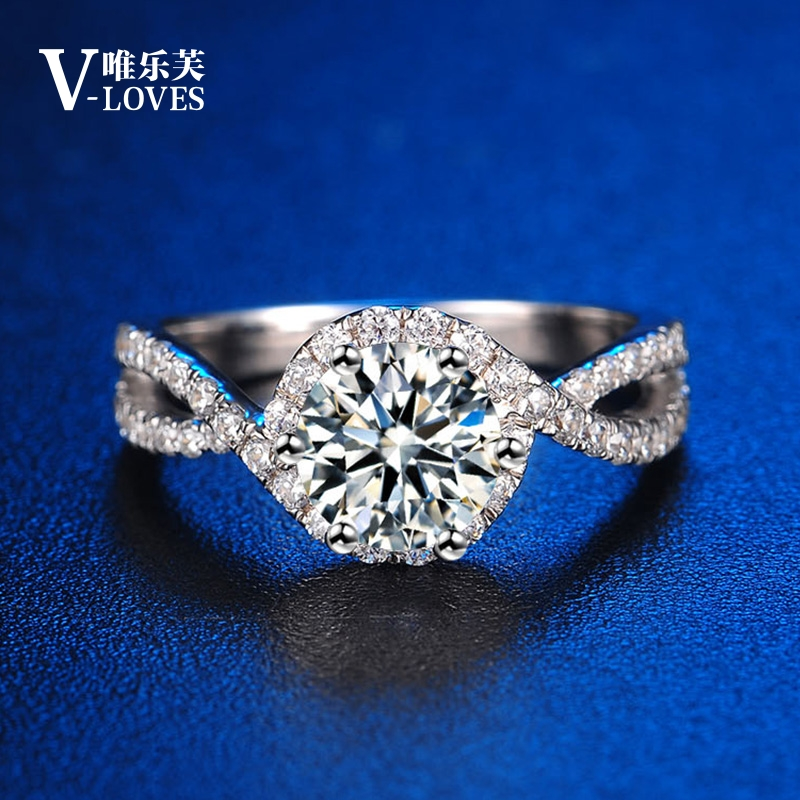 1 carat Mossan stone womens ring twist arm simulation diamond ring does not fade S925 Silver Plated Platinum 18K couple wedding ring