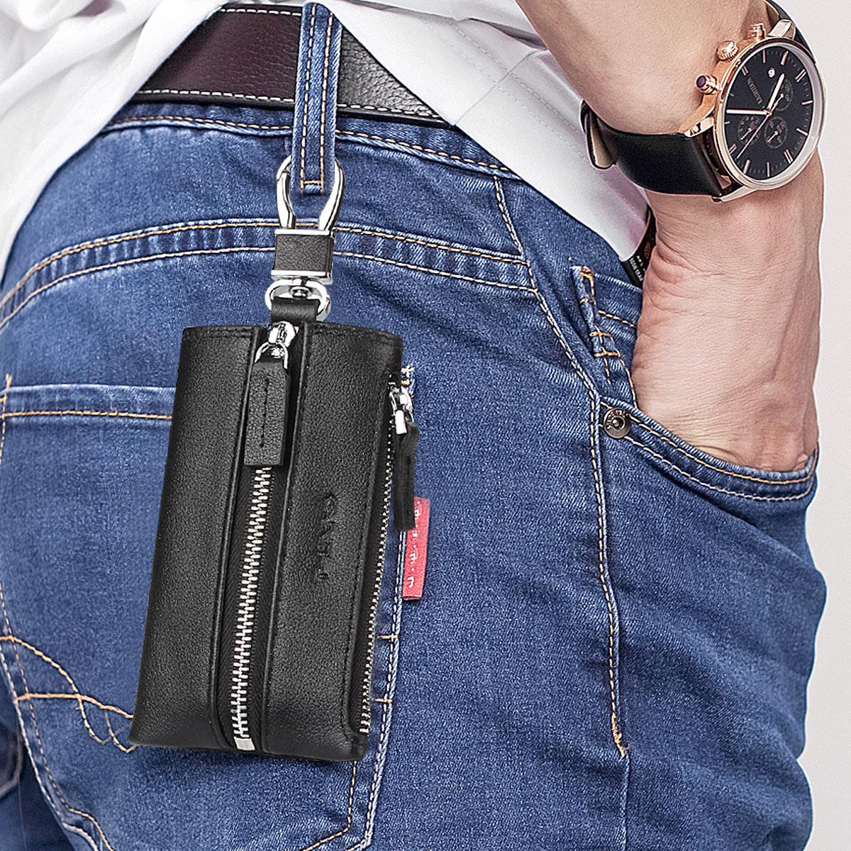 汽车钥匙包男真皮简约实用大容量多功能头层牛皮创意腰挂车锁匙包