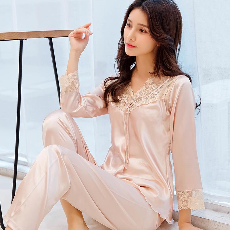 睡衣女夏季冰丝两件套装春秋薄款蕾丝性感女士长袖丝绸绸缎家居服