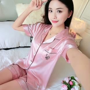 蕾丝性感冰丝绸缎家居服 短裤 丝绸短袖 夏季 真丝睡衣女韩版 两件套装