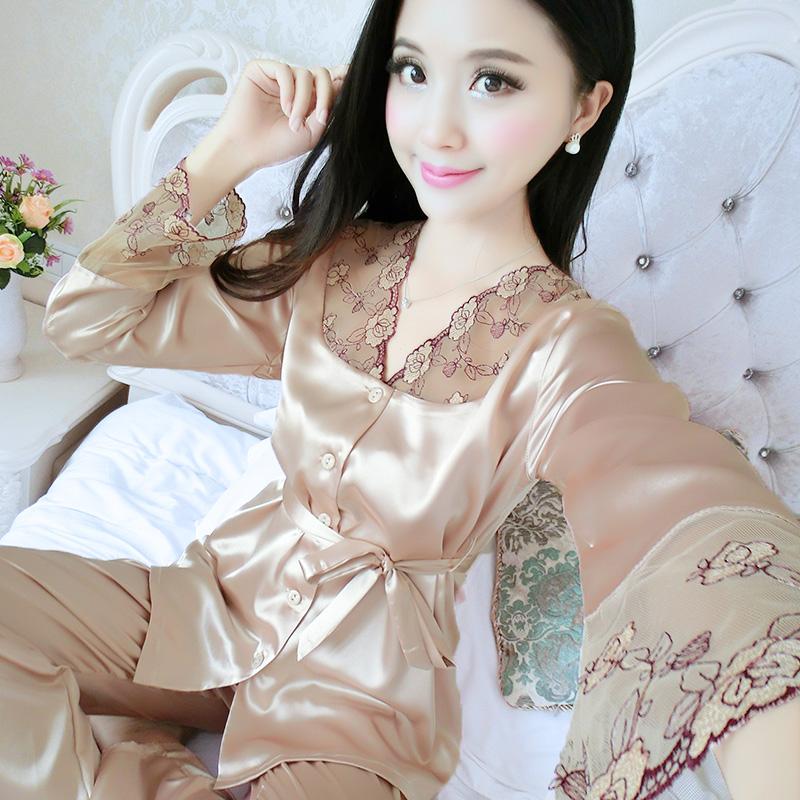 夏季真丝性感两件套韩版宽松睡衣