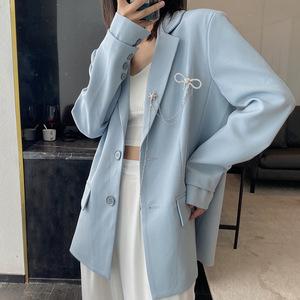 蓝色西装外套女2021新款设计感小众休闲薄款韩版百搭春秋