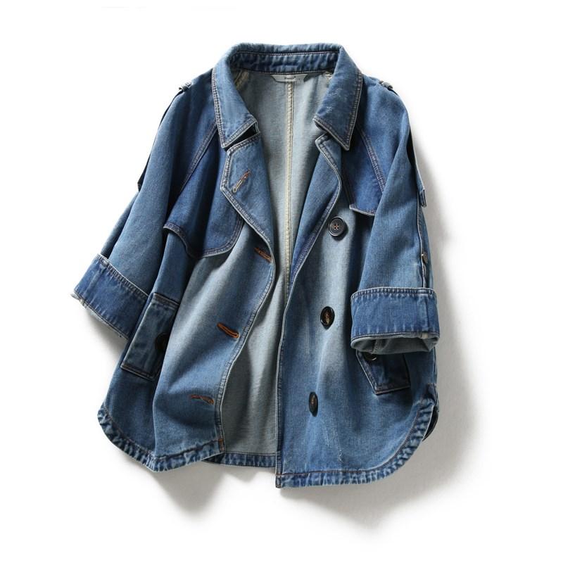 可可家新品牛仔棉两穿袖显高外套
