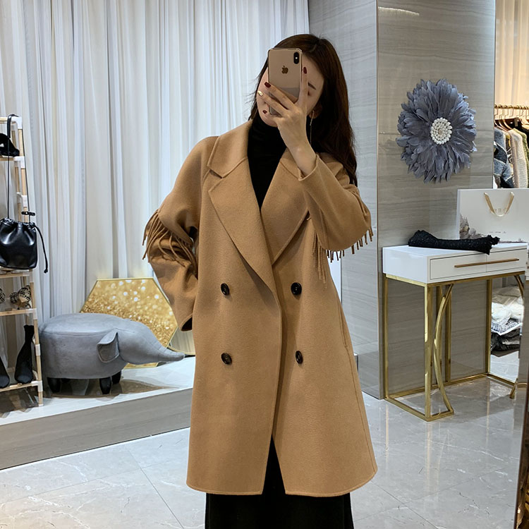 Korean water wave double-sided woolen coat womens middle and long tassel straight tube loose wide version cashmere woolen coat