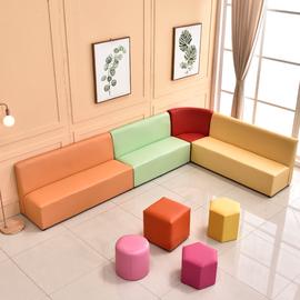简约现代沙发红黄蓝亲子园沙发儿童休闲区沙发母婴室沙发卡座沙发