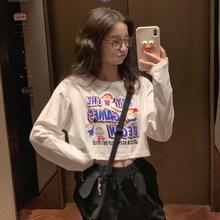 趣味减龄卡通印花防晒长袖 宽松露脐短款 T恤女装 韩版 夏季 2019新款